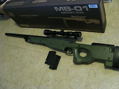 Well MB-01 Advanced Changeable Hop Up Sniper Rifle Airsoft Green/Scope - EUC