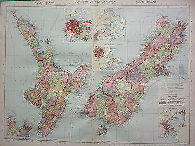 1940 MAP ~ DOMINION OF NEW ZEALAND NORTH & SOUTH ISLAND CHRISTCHURCH AUCKLAND