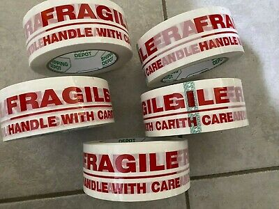 USA 5 Rolls Fragile (2 x 110 yds )Pro Heavy Duty DURABLE Packing Tape
