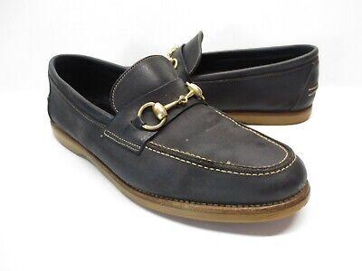 Men's Vintage Gucci 142 2025 Black Suede Leather Horsebit Loafers size 42