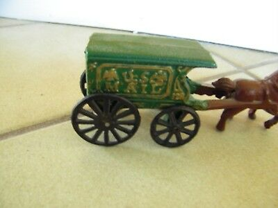 VINTAGE CAST IRON U.S. MAIL HORSE & WAGON CART-GREEN- BROWN