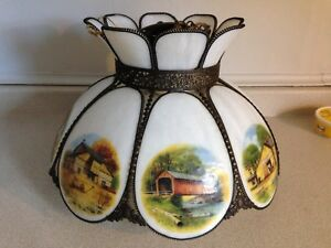 Vintage Slag Glass Chandelier With Country Scenes