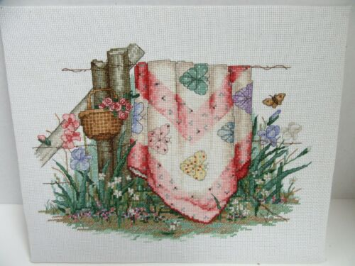 Finished Cross Stitch Paula Vaughan Quilt For All Season April Butterfly Complet