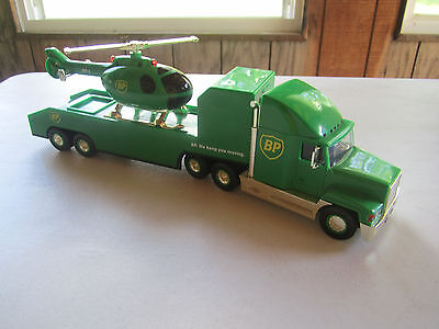1999 Bp Gold Oil Chopper Tractor Trailor Truck   Helicopter Rare Limited Edition