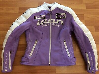 ICON Kitty Jacket Womens Leather Lined Armored Motorcycle Large purple & White