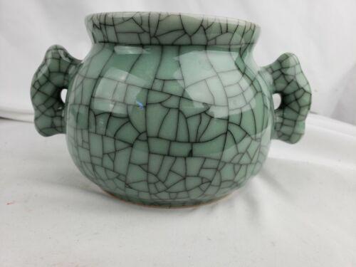Superb antique / vintage chinese glazed pottery pot, celadon, crackling