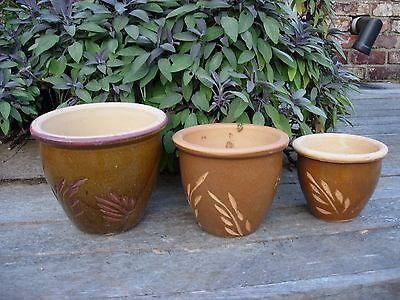3 Taupe Ceramic Glazed Garden Plant Pots Leaf Design 22 - 16 cm diameter (854j) Taupe Glazed Ceramic
