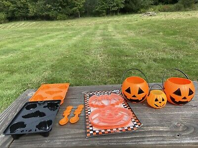 Vintage Halloween Cookie Cutters Jello Jigglers Pumpkin Pails Pumpkin Spoon Lot