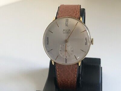 Vintage Avia Art Deco Style 17 Jewels Incabloc Hand Winding Gents Watch Working