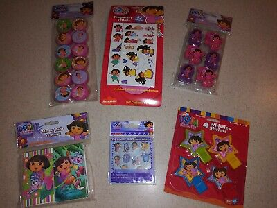 Dora The Explorer Party Favors-Whistles,Erasers,Tattoos,Sharpeners,Stickers,Pads