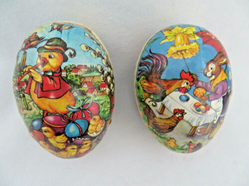 """3 1/2""""  Nestler 1960""""s GDR Paper Mache Easter Egg Candy Box Containers  Set of 2"""