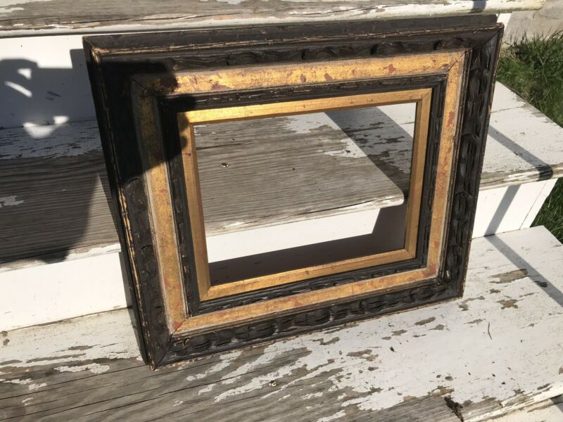 Antique Gold Carved Wood Painting Frame Modernist Arts And Crafts Style