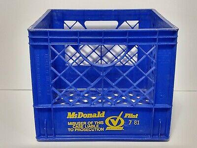 Vintage 1980's McDonald Dairy Flint MI Plastic Milk Crate 7/81 United Steel