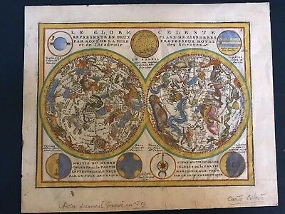 18th Century Antique Astrological Zodiac Map from 1719