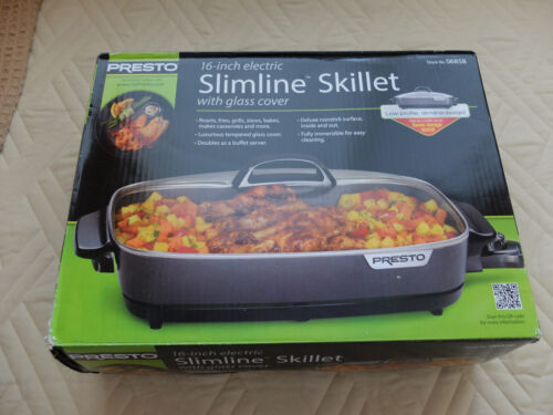 """Presto Slimline 16"""" Electric Skillet Black/Stainless 06858"""