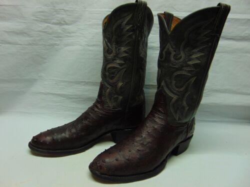 Tony, Lama, El, Rey, Mens, 12, Burgundy, &, Gray, Full, Quill, Ostrich, Cowboy, Western, boots