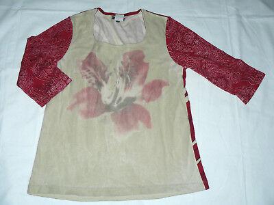 STREET ONE Damen Shirt 3/4 Arm Retro Blume 38 gerader Schnitt Einzelstück #17 - 3 Stück Arm Schnitt