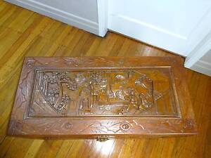 Antique Carved camphor wooden chest with oriental design Carina Brisbane South East Preview