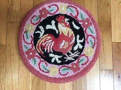 ANTIQUE PRIMITIVE COUNTRY FARM HOUSE Rooster~HOOKED MAT stool cover RUG ART   for sale  Wallingford