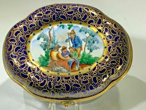 Elegant Hand Painted Large Blue Scenic Porcelain Hinged Box