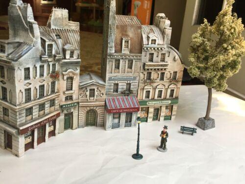 Lot 5 Vintage Gault French Provence Miniature Paris Building Collectibles, Tree+