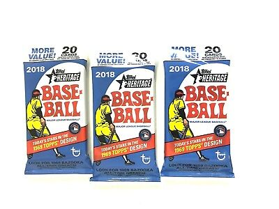 2018 TOPPS HERITAGE  BASEBALL JUMBO FAT/ VALUE PACKS ( 3 PACK LOT )