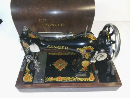 Vtg Singer Sewing Machine #128 dated July 8th 1926 AB201194 Grahics designs case