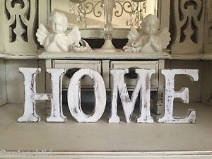 "LARGE SHABBY CHIC VINTAGE WHITE WOODEN ""HOME"" Letters FREESTANDING 15CM HIGH  eBay"