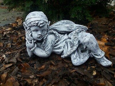 Steinfigur seltener Troll liegend 30cm Frostfest Steinguss Garten Deko Gnom gebraucht kaufen  Kerken