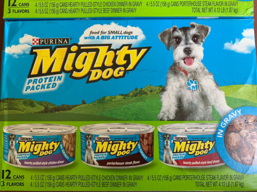 Purina Mighty Dog Hearty Pulled-Style Chicken Dinner in Grav