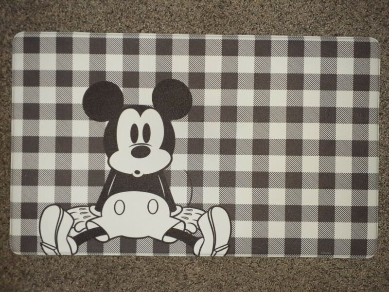 """Disney Mickey Mouse Anti-Fatigue Kitchen Mat Large 18 x 30"""" Checkered BRAND NEW"""