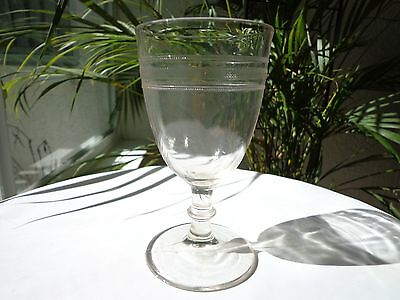 EAPG c 1900 Clear Glass Water Goblet Plain with Diamond Bands