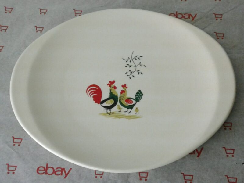 """Antique STEUBENVILLE Rooster Hen Chick Platter 13 3/4"""" Discontinued"""
