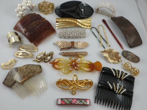 24+ Vintage and Modern Hair Barrettes, Combs, Accessories 2 Made in France