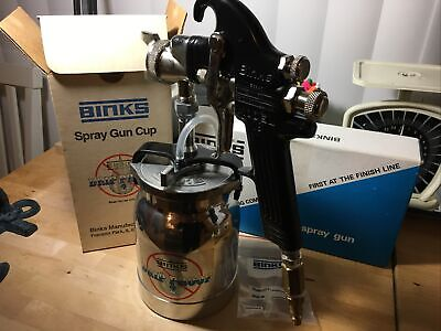 Vintage Binks Spray Gun Model 18 With Stainless Steel Cup Both Made In Usa