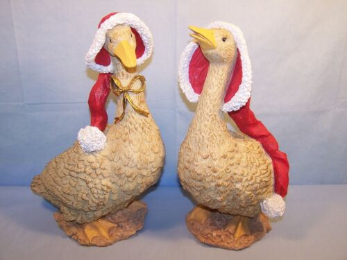 """Pair 13"""" Resin CHRISTMAS GEESE Red Stocking Santa Hats GOLD BOW Goose Figurine"""