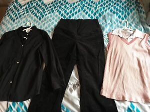 Maternity Clothes - Size Large (Cord Pants & 2 Tops)