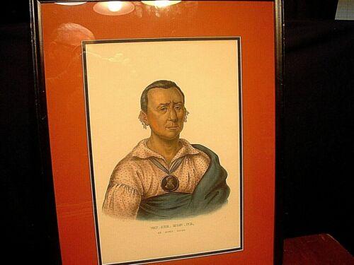 Antq 19ThCNative American Colored Lithograph of Chief Wat-Che-Mon-Ne Ioway Chief