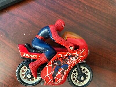 """Vintage 1984 Secret Wars SPIDERMAN on Motorcycle Buddy L 4"""" In Fair Condition"""
