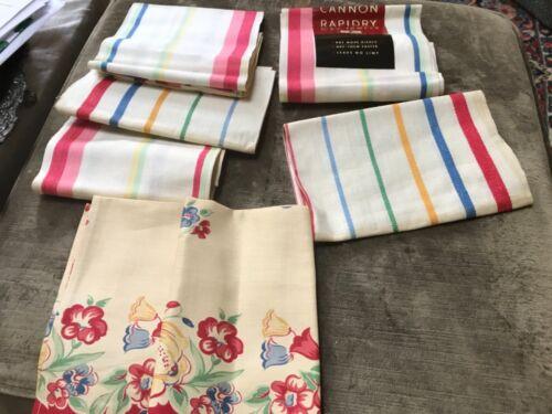 Vintage Set Of 6 striped  Dish TOWELS  flower Cotton Linen Unused cannon