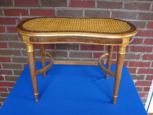 FRENCH STYLE GILT GOLD & WALNUT CANED CANE  STOOL BENCH OTTOMAN