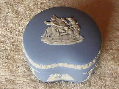 Vintage Wedgwood Blue Jasperware Trinket Box with Lid Bean Shape