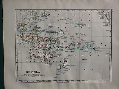 1900 VICTORIAN MAP ~ OCEANIA FOREIGN POSSESSIONS AUSTRALIA PHILIPPINE POLYNESIA