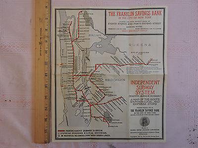 - RARE 1937 New York City Subway Map NYC * IND * IND * 1933  Brooklyn Manhattan