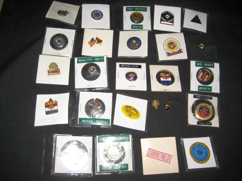 25 Boy Scout Hat & Lapel Pins   P25X