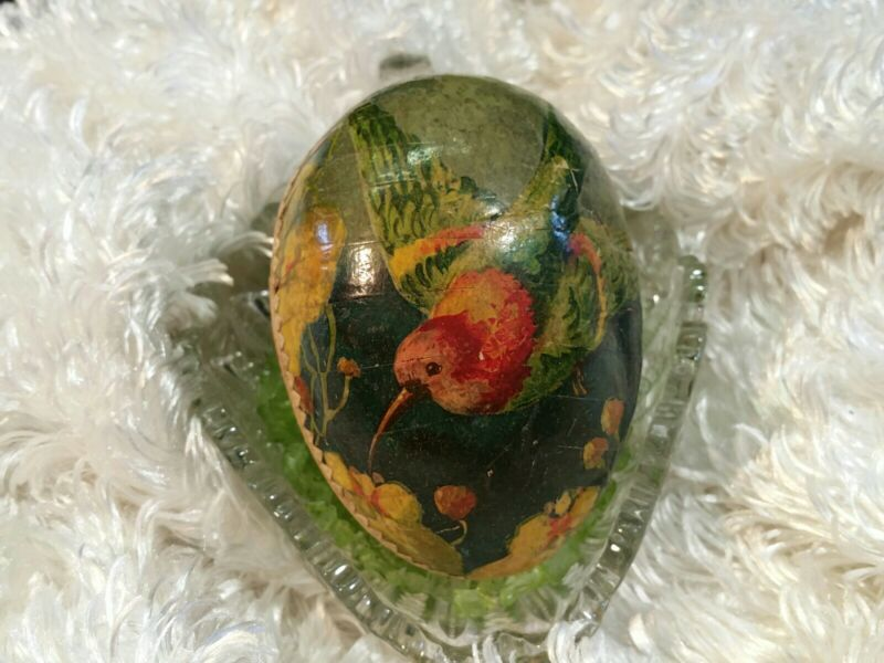 "4"" Tall   Vintage GERMANY Humming Bird Paper Mache EASTER EGG Candy Container"