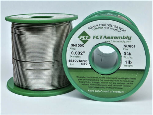 "SN100C NC601 Lead Free Wire Solder - No Clean .032"" Dia. 1 lb."
