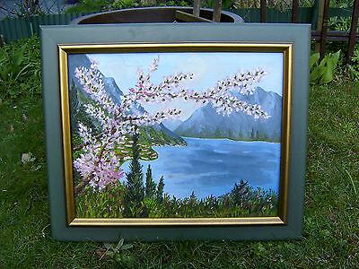 """ORIGINAL Ölgemälde """"Gardasee"""" - Landschaft Italien *Blumen Flieder *mit Rahmen"""
