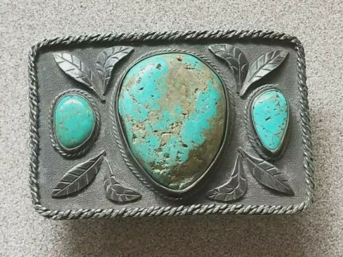 Old Navajo Turquoise Belt Buckle, Sterling Silver