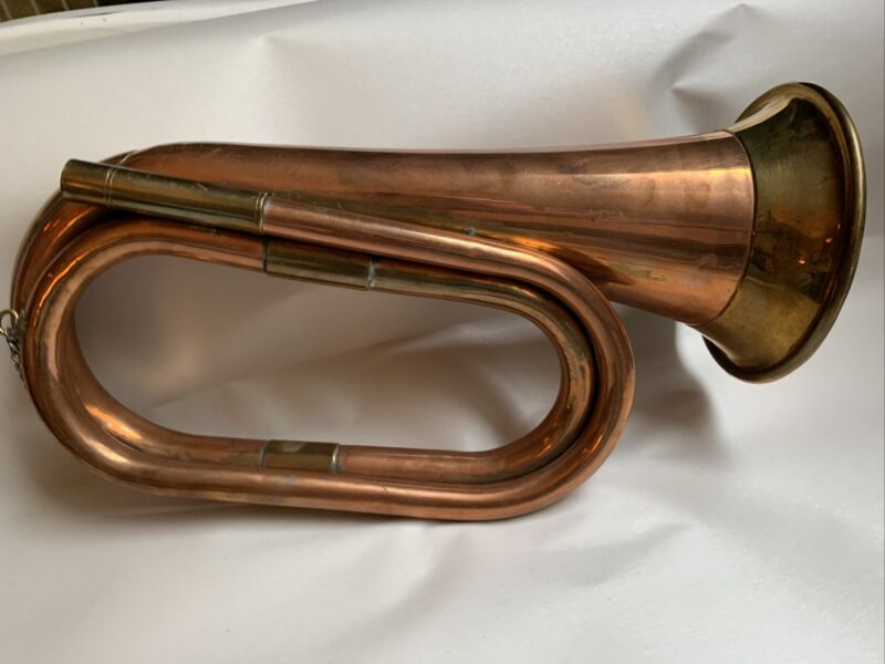 Antique Vintage Brass Copper Bugle Military or Scouts #4B